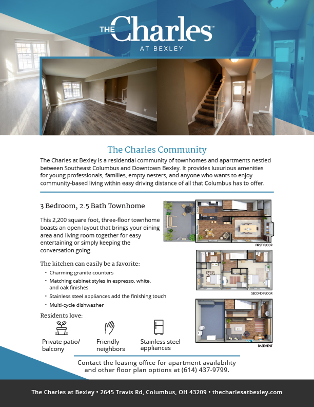 townhome, floorplan, charles at bexley