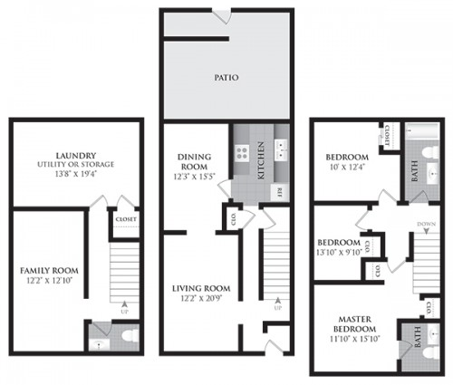 3 Bedroom Townhomes: The Charles At Bexley Apartments And